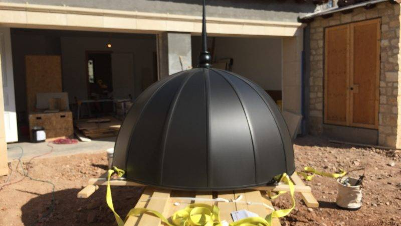Anthra Zinc Domes with football panels, Radius V straps topped with matching Finial