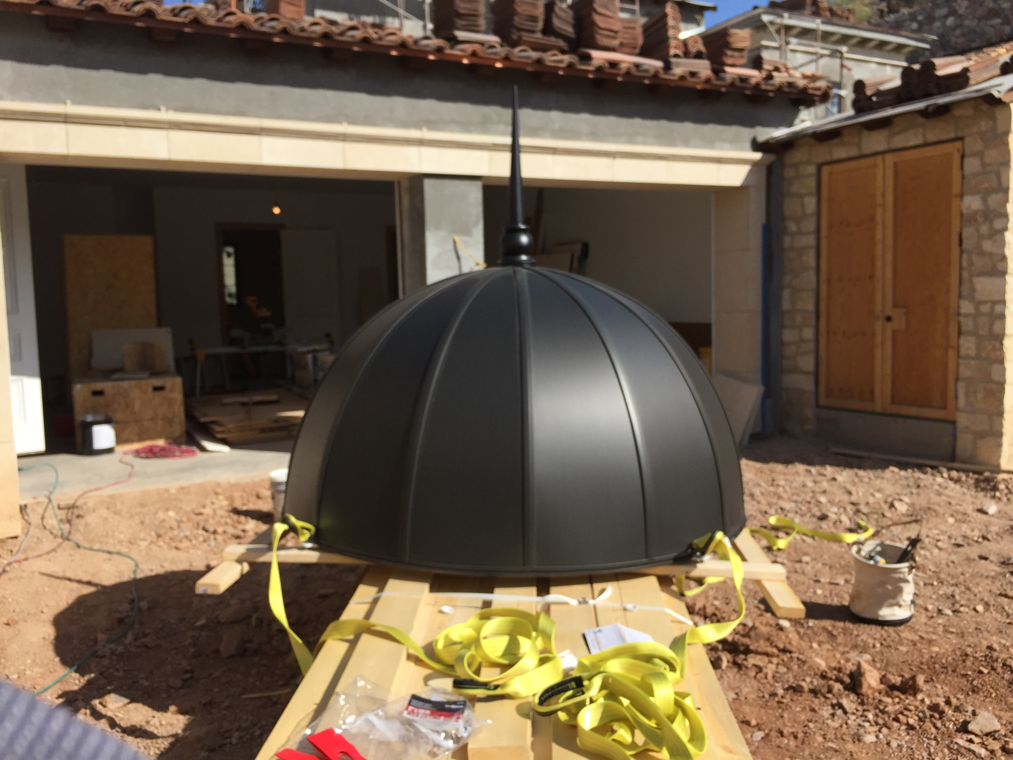 Anthra Zinc Roof Domes with football panels, Radius V straps topped with matching Finial