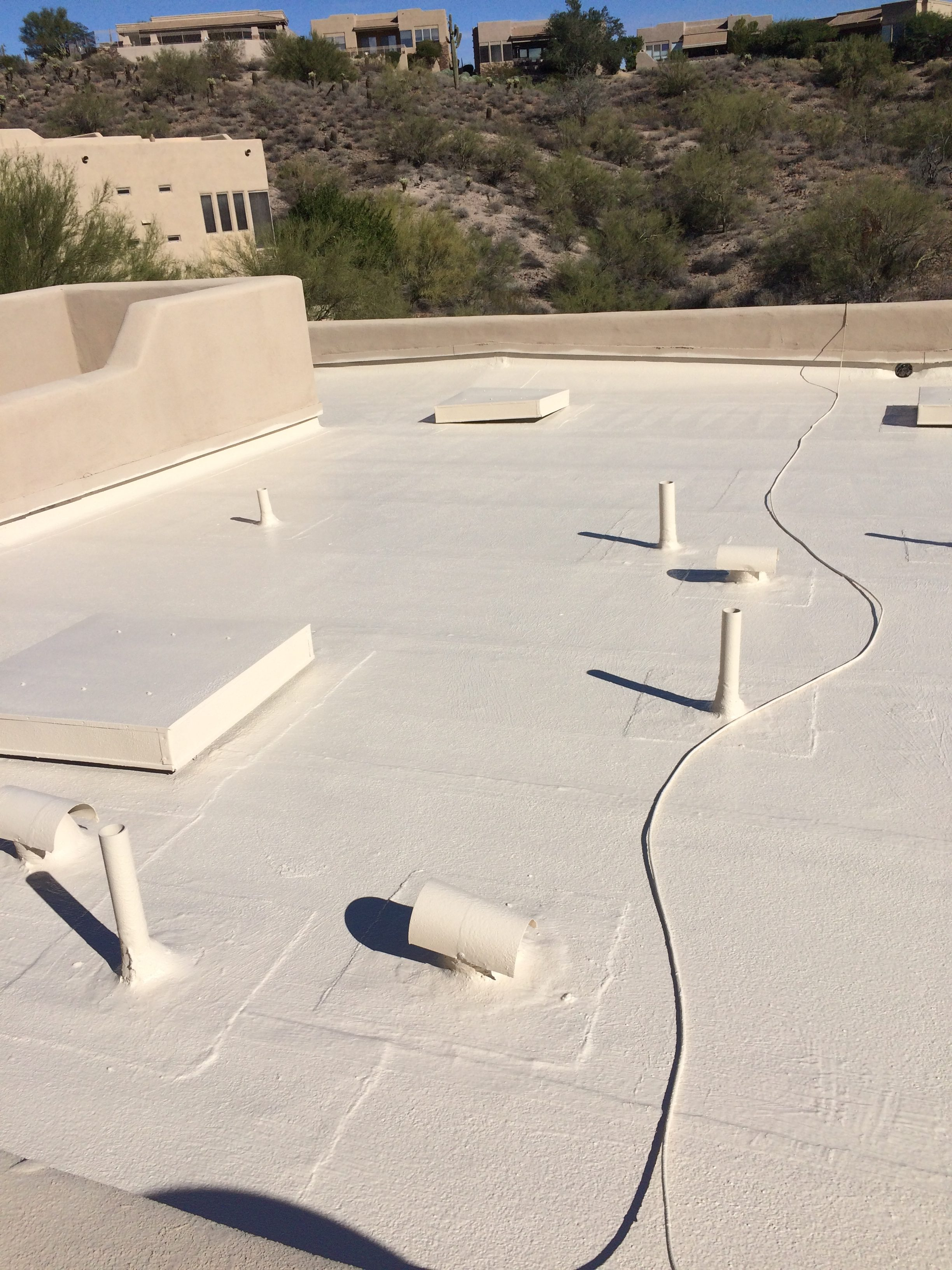 Built-Up Roof Coating with Polyester Seams